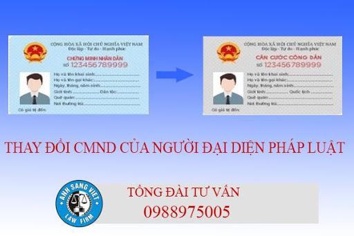 đổi từ chứng minh nhân dân sang thẻ căn cước công dân của người đại diện theo pháp luật của doanh nghiệp